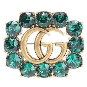 Gucci Green and Gold Gg Logo Crystal Brooch
